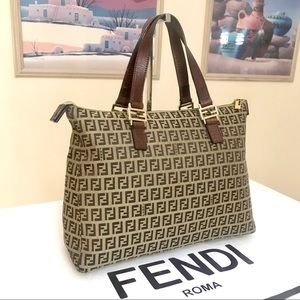 FENDI Monogram Zucchino Canvas Tote/Handbag 👜